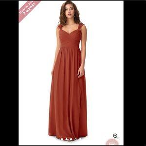 Azazie Bridsemaid Rust Dress worm once